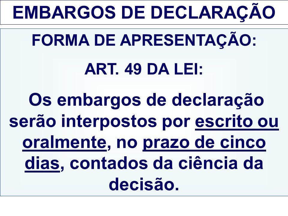 EMBARGOS DE DECLARAÇÃO FORMA DE APRESENTAÇÃO: