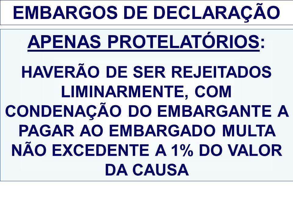 EMBARGOS DE DECLARAÇÃO APENAS PROTELATÓRIOS:
