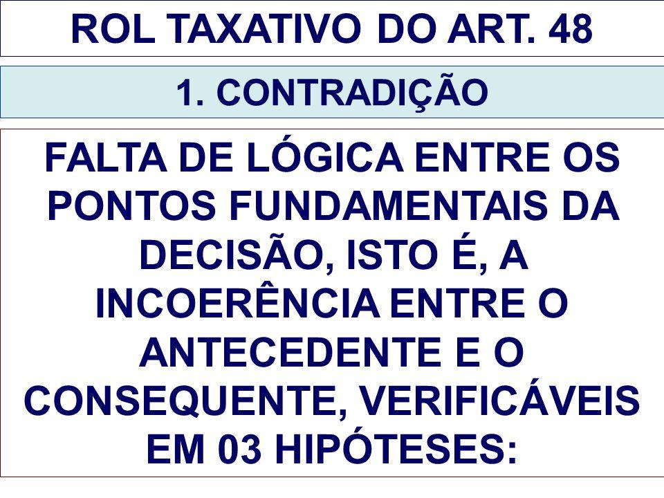 ROL TAXATIVO DO ART. 48 1. CONTRADIÇÃO.