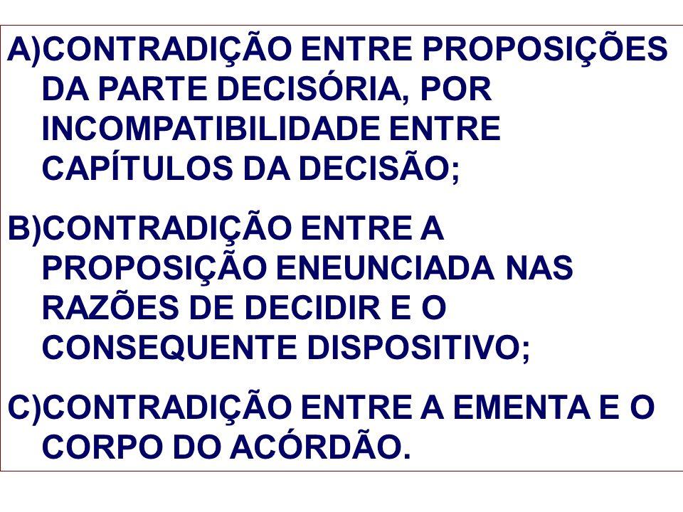 CONTRADIÇÃO ENTRE PROPOSIÇÕES DA PARTE DECISÓRIA, POR INCOMPATIBILIDADE ENTRE CAPÍTULOS DA DECISÃO;