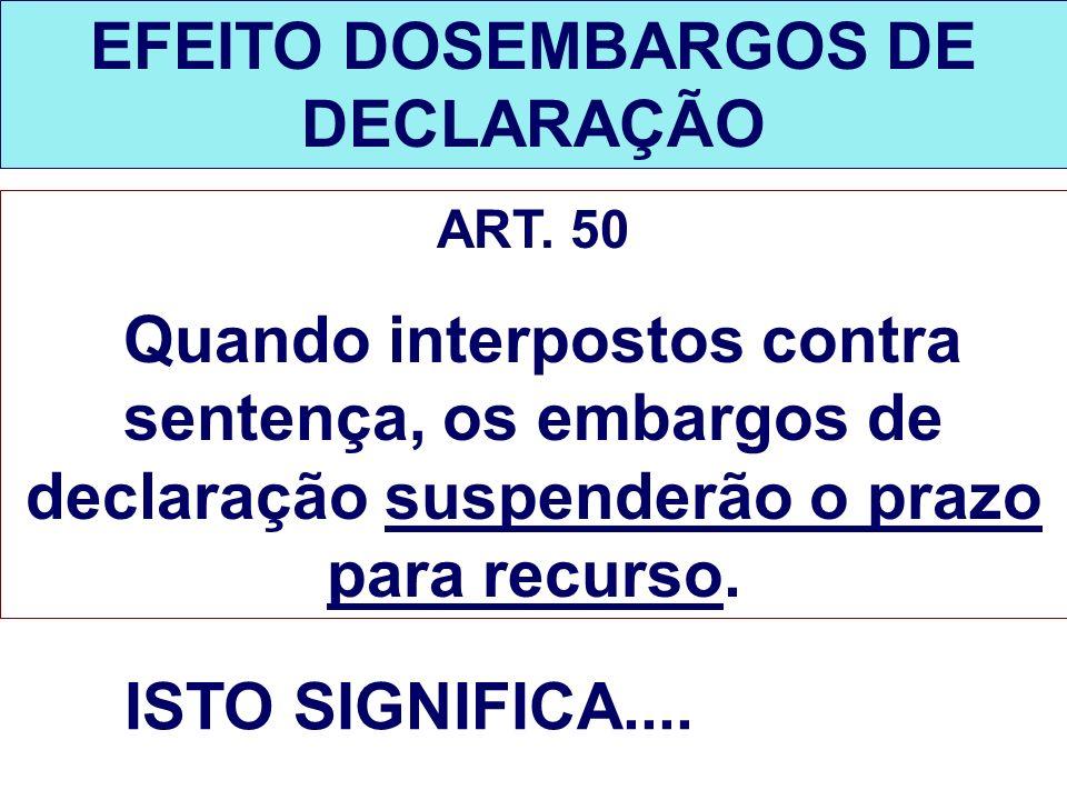 EFEITO DOSEMBARGOS DE DECLARAÇÃO