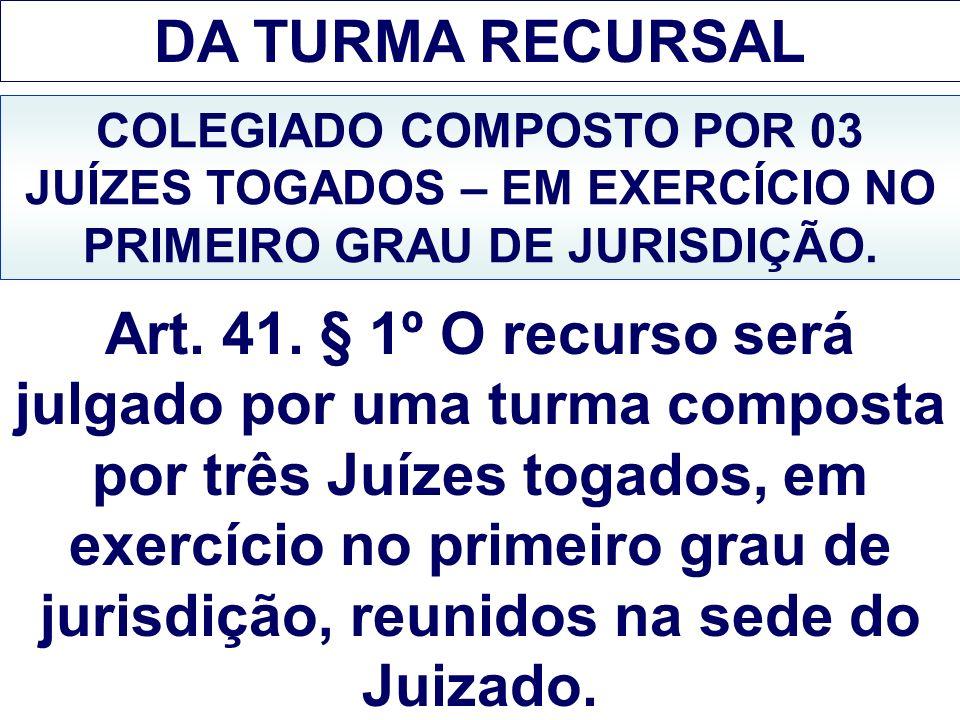 DA TURMA RECURSAL COLEGIADO COMPOSTO POR 03 JUÍZES TOGADOS – EM EXERCÍCIO NO PRIMEIRO GRAU DE JURISDIÇÃO.