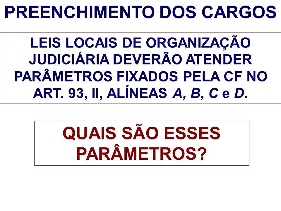 PREENCHIMENTO DOS CARGOS QUAIS SÃO ESSES PARÂMETROS