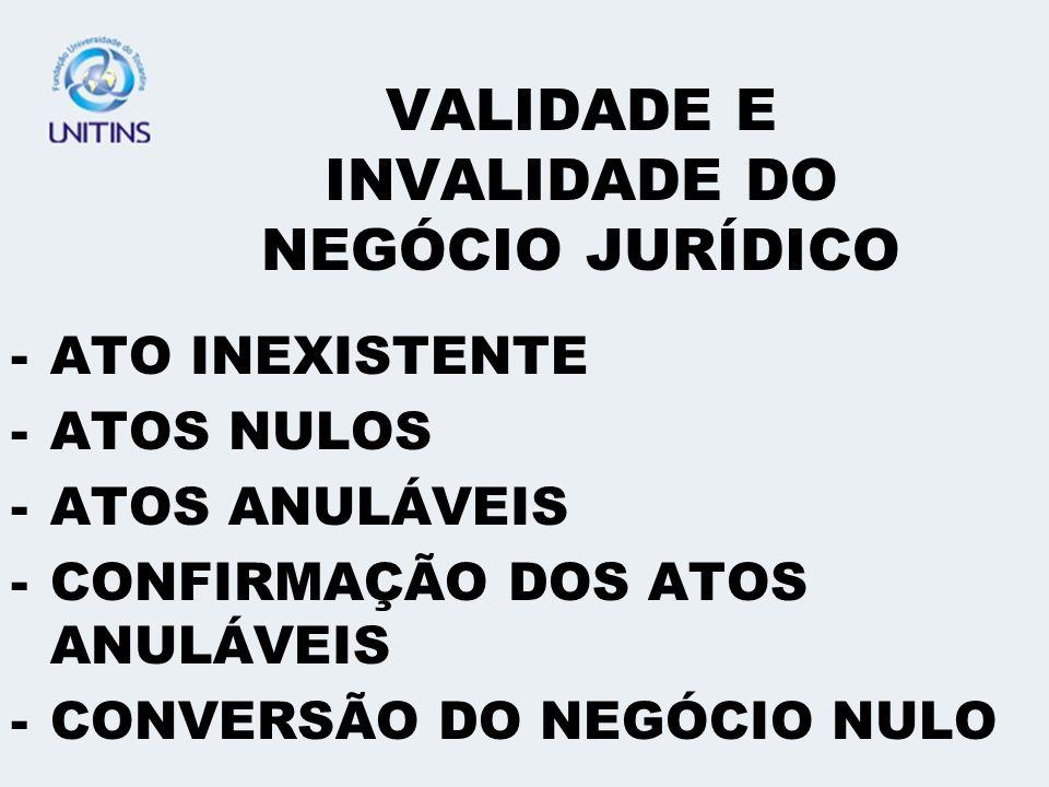 VALIDADE E INVALIDADE DO NEGÓCIO JURÍDICO