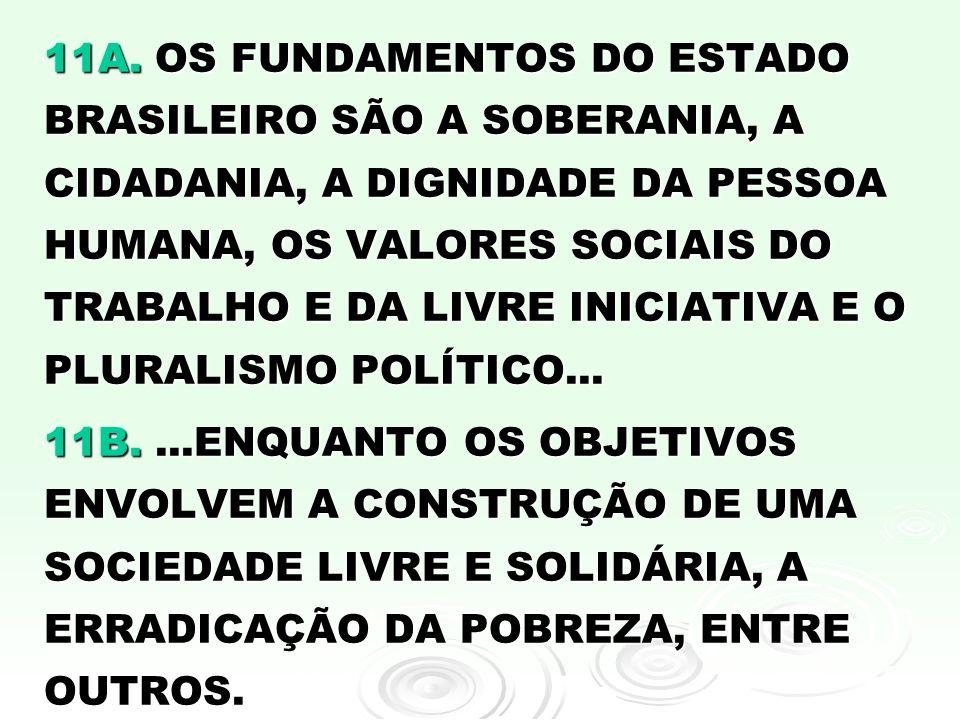11A. OS FUNDAMENTOS DO ESTADO BRASILEIRO SÃO A SOBERANIA, A CIDADANIA, A DIGNIDADE DA PESSOA HUMANA, OS VALORES SOCIAIS DO TRABALHO E DA LIVRE INICIATIVA E O PLURALISMO POLÍTICO...