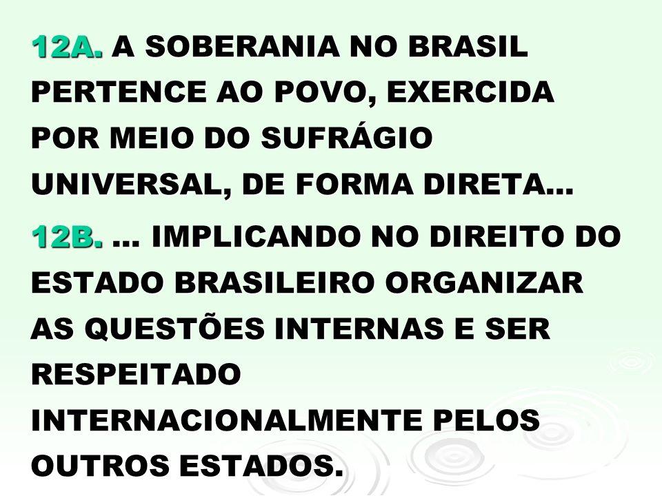 12A. A SOBERANIA NO BRASIL PERTENCE AO POVO, EXERCIDA POR MEIO DO SUFRÁGIO UNIVERSAL, DE FORMA DIRETA...