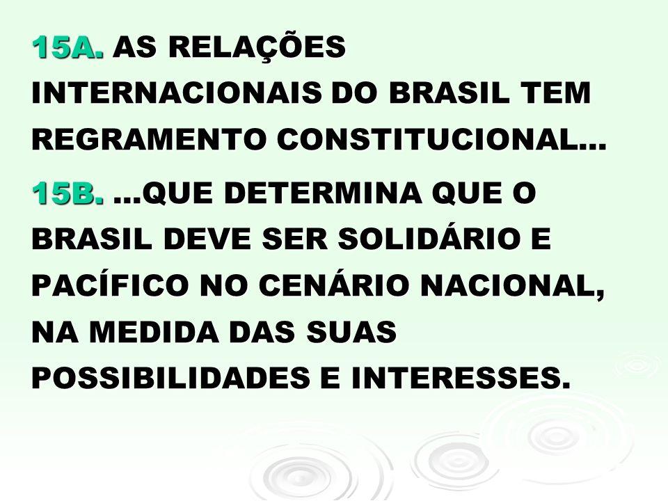 15A. AS RELAÇÕES INTERNACIONAIS DO BRASIL TEM REGRAMENTO CONSTITUCIONAL...