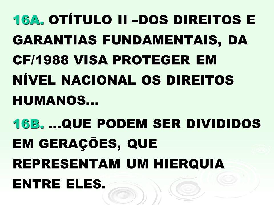 16A. OTÍTULO II –DOS DIREITOS E GARANTIAS FUNDAMENTAIS, DA CF/1988 VISA PROTEGER EM NÍVEL NACIONAL OS DIREITOS HUMANOS...