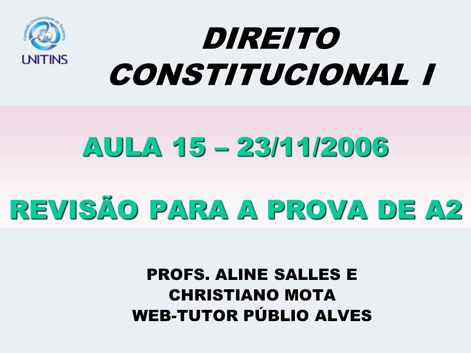 AULA 15 – 23/11/2006 REVISÃO PARA A PROVA DE A2