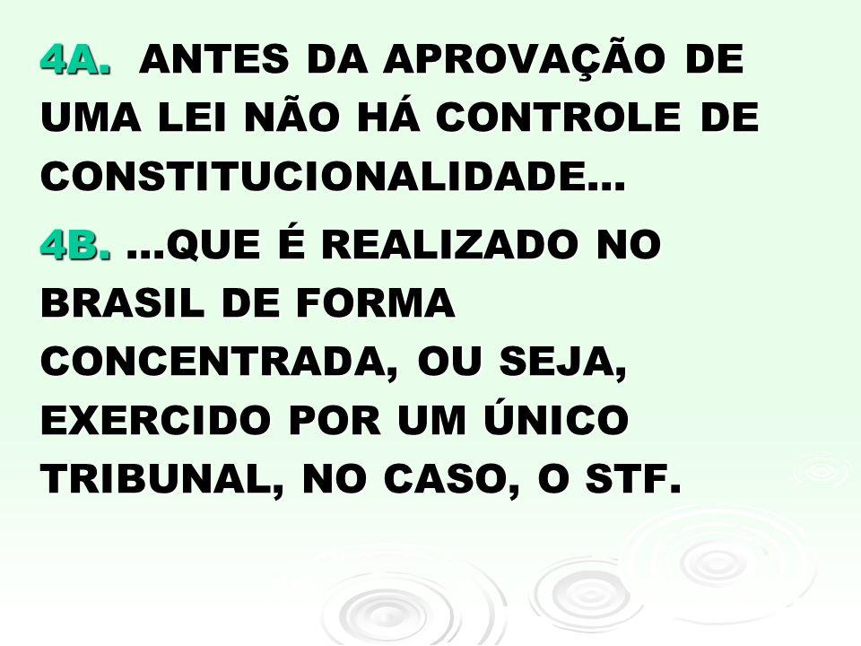 4A. ANTES DA APROVAÇÃO DE UMA LEI NÃO HÁ CONTROLE DE CONSTITUCIONALIDADE...