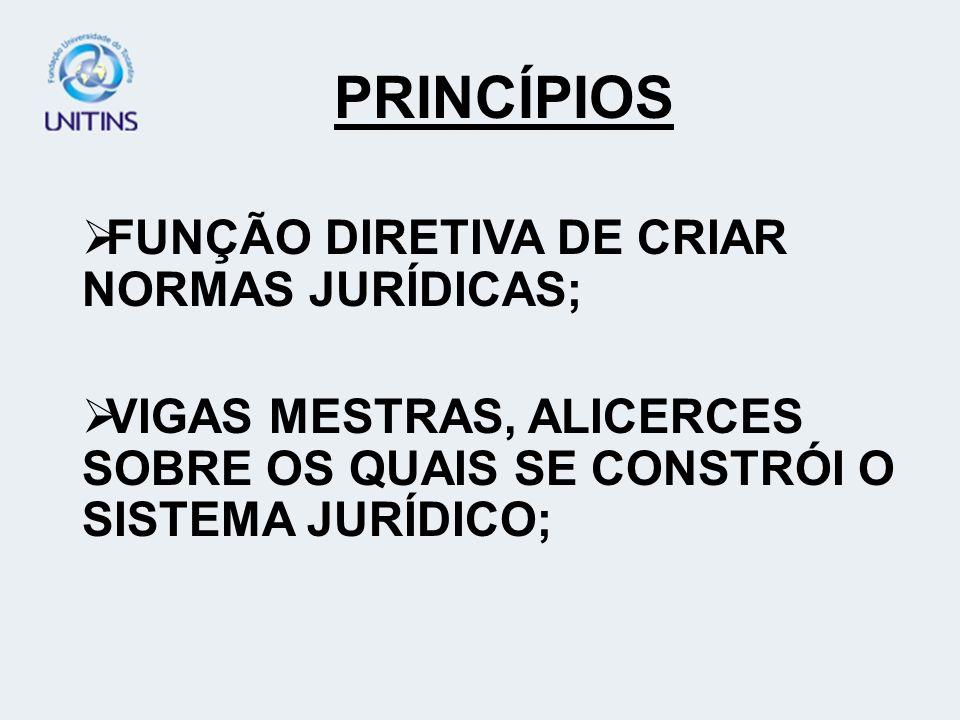PRINCÍPIOS FUNÇÃO DIRETIVA DE CRIAR NORMAS JURÍDICAS;