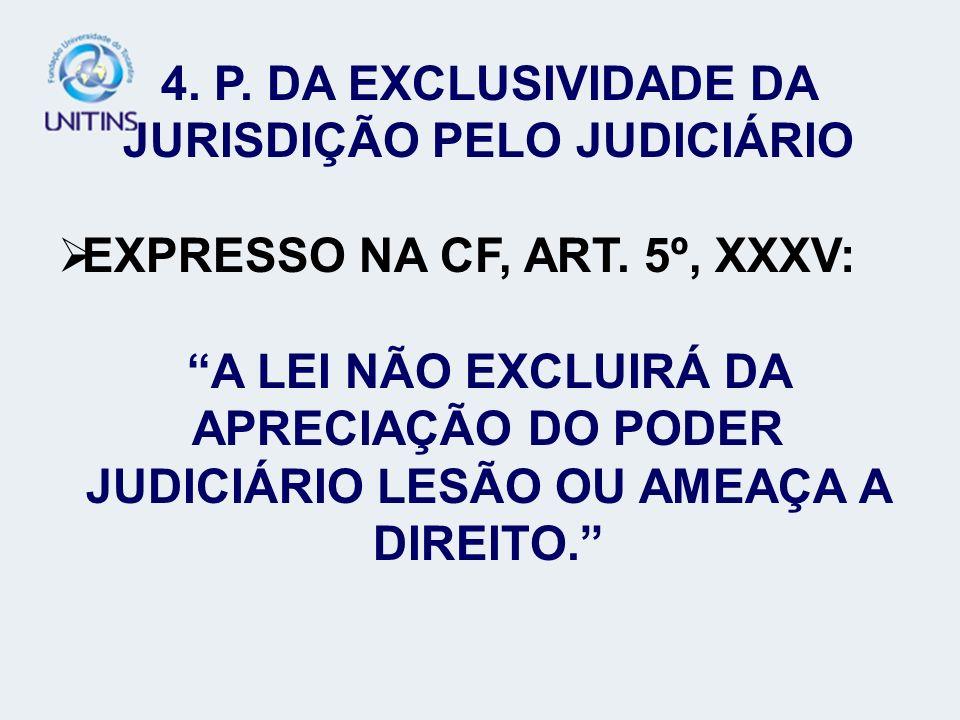 4. P. DA EXCLUSIVIDADE DA JURISDIÇÃO PELO JUDICIÁRIO