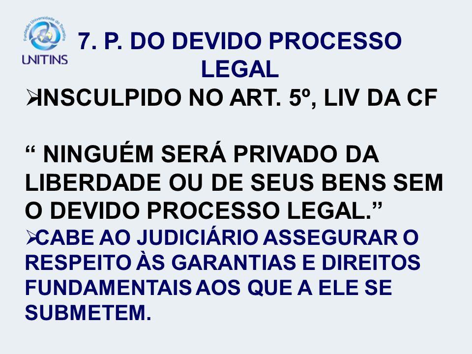 7. P. DO DEVIDO PROCESSO LEGAL