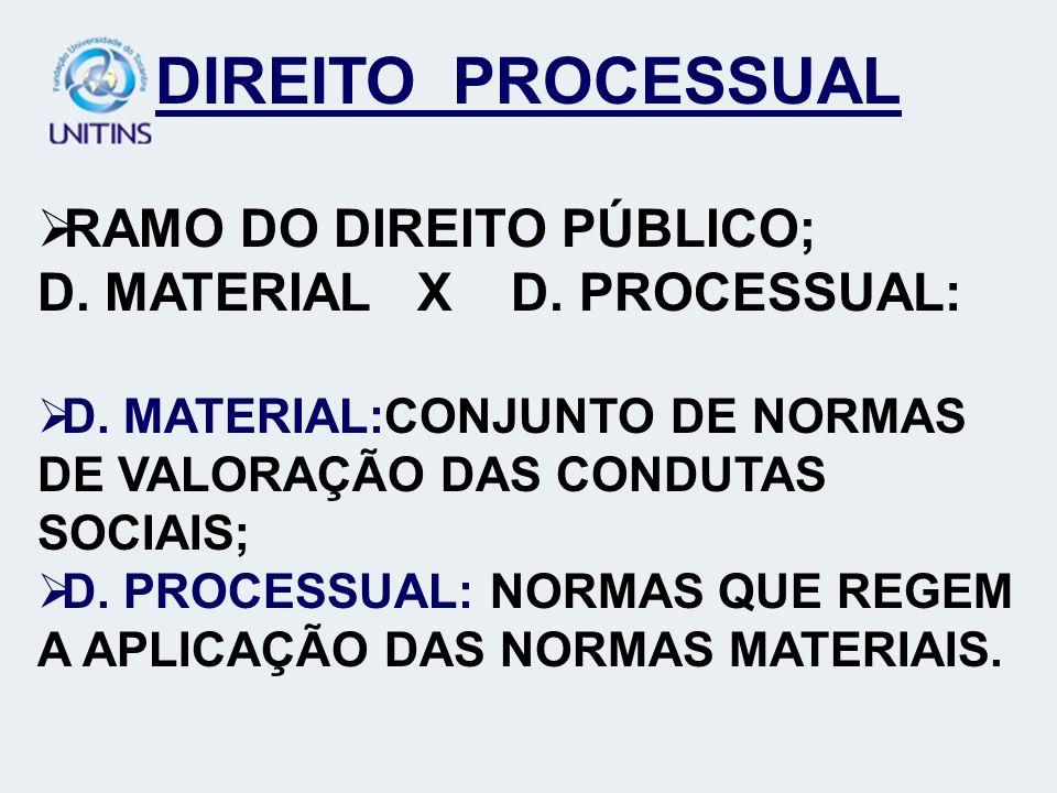 DIREITO PROCESSUAL RAMO DO DIREITO PÚBLICO;