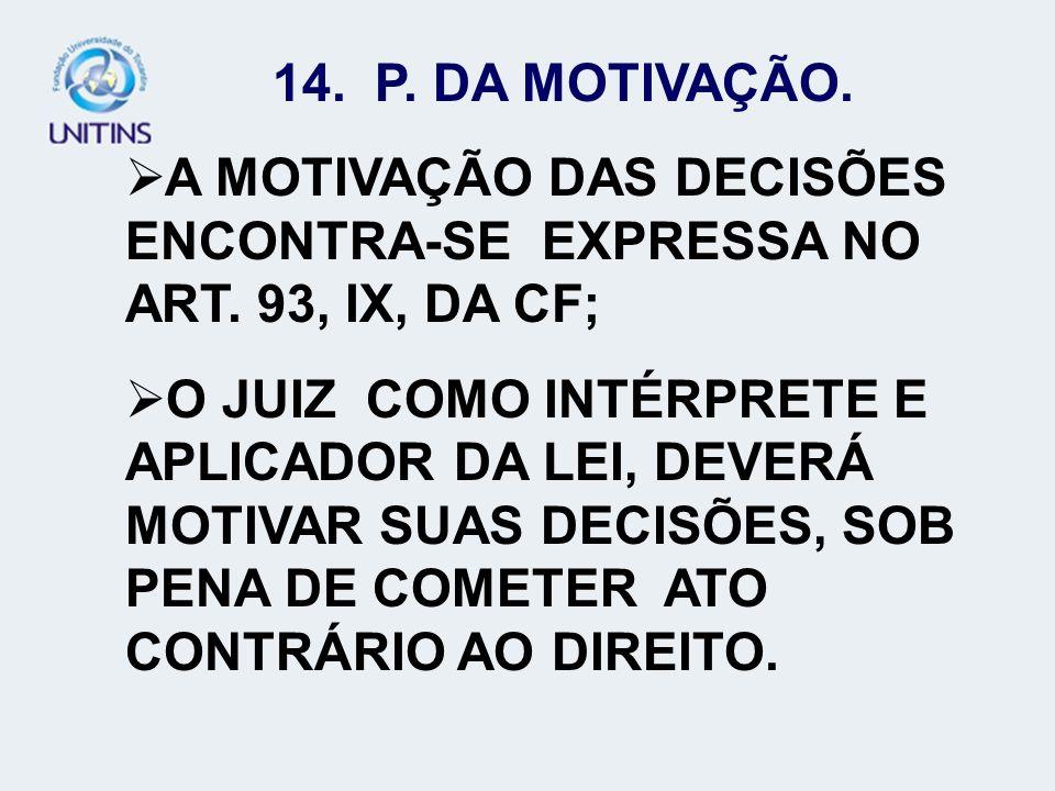 A MOTIVAÇÃO DAS DECISÕES ENCONTRA-SE EXPRESSA NO ART. 93, IX, DA CF;
