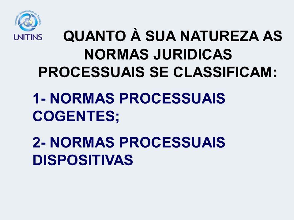 QUANTO À SUA NATUREZA AS NORMAS JURIDICAS PROCESSUAIS SE CLASSIFICAM: