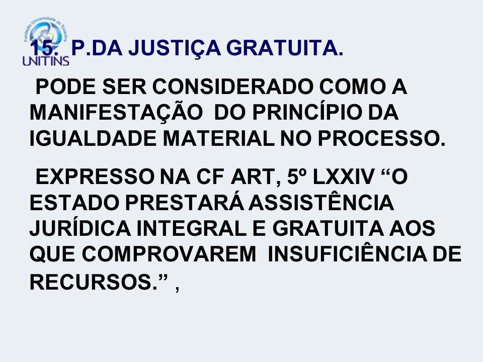15. P.DA JUSTIÇA GRATUITA. PODE SER CONSIDERADO COMO A MANIFESTAÇÃO DO PRINCÍPIO DA IGUALDADE MATERIAL NO PROCESSO.