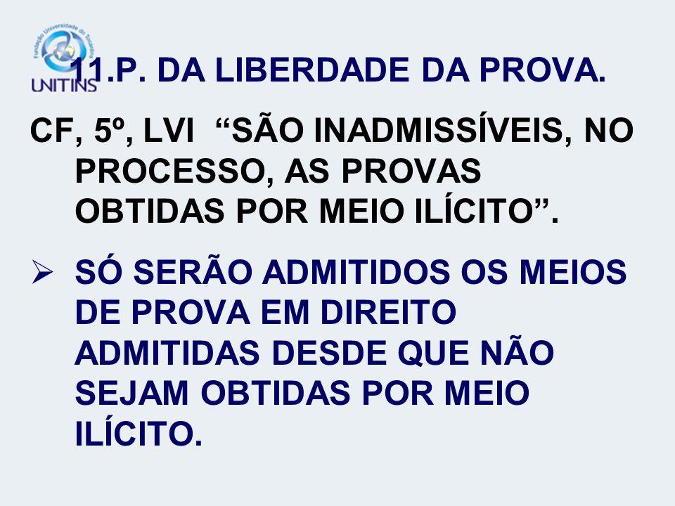 P. DA LIBERDADE DA PROVA. CF, 5º, LVI SÃO INADMISSÍVEIS, NO PROCESSO, AS PROVAS OBTIDAS POR MEIO ILÍCITO .
