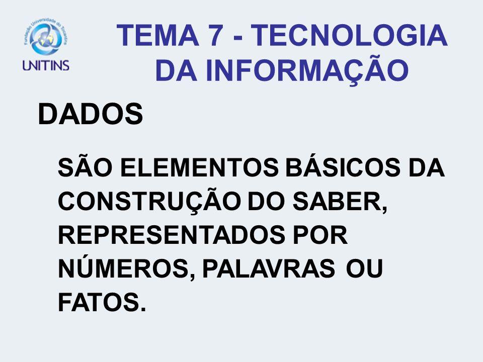 TEMA 7 - TECNOLOGIA DA INFORMAÇÃO