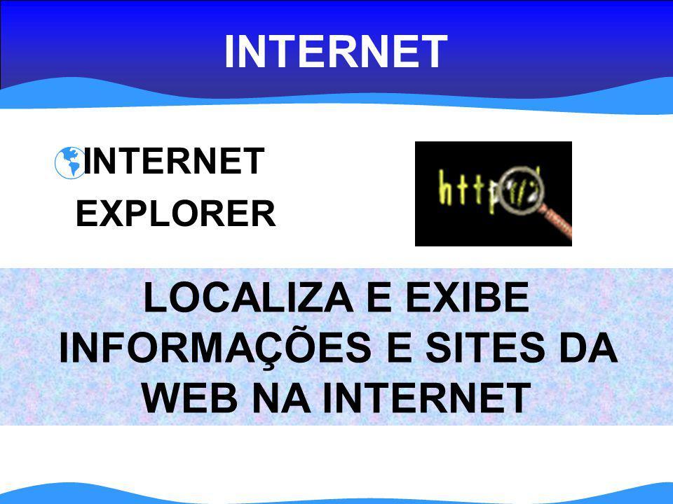 LOCALIZA E EXIBE INFORMAÇÕES E SITES DA WEB NA INTERNET