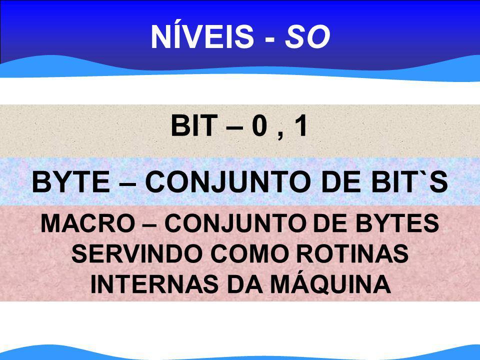 NÍVEIS - SO BIT – 0 , 1 BYTE – CONJUNTO DE BIT`S