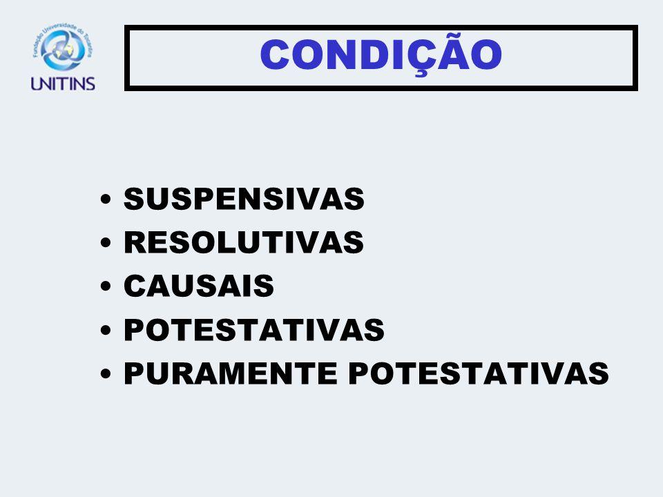 CONDIÇÃO SUSPENSIVAS RESOLUTIVAS CAUSAIS POTESTATIVAS