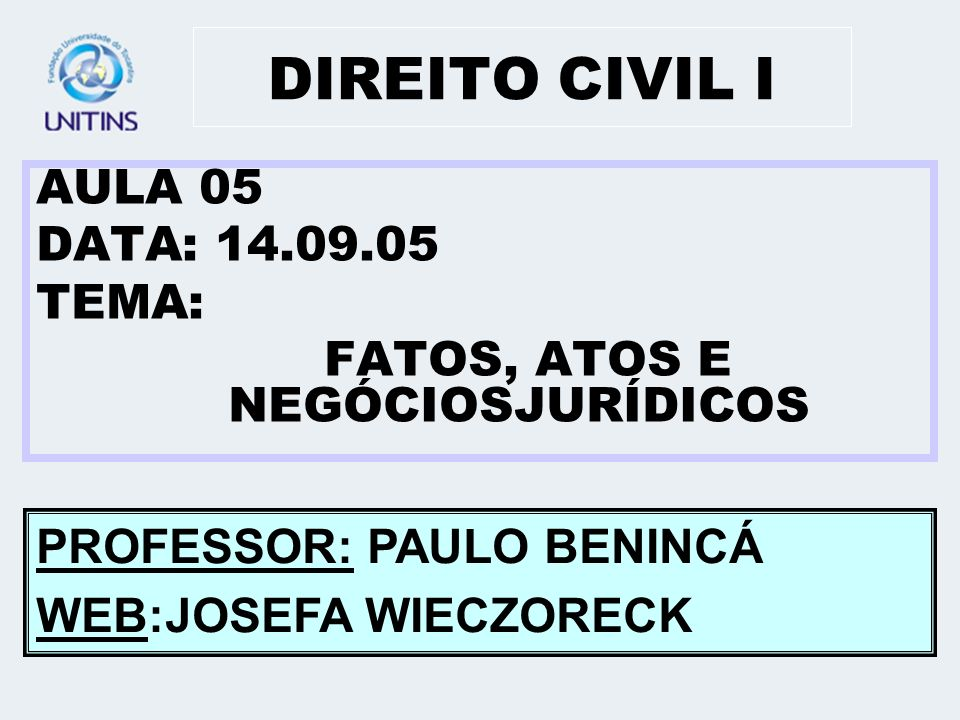 DIREITO CIVIL I AULA 05 DATA: 14.09.05 TEMA: