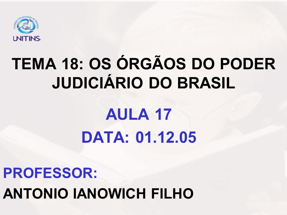 TEMA 18: OS ÓRGÃOS DO PODER JUDICIÁRIO DO BRASIL