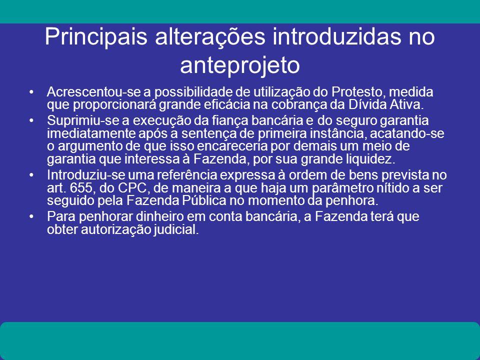 Principais alterações introduzidas no anteprojeto