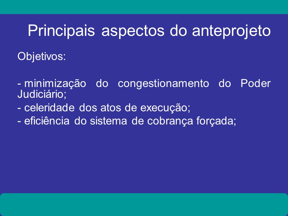 Principais aspectos do anteprojeto