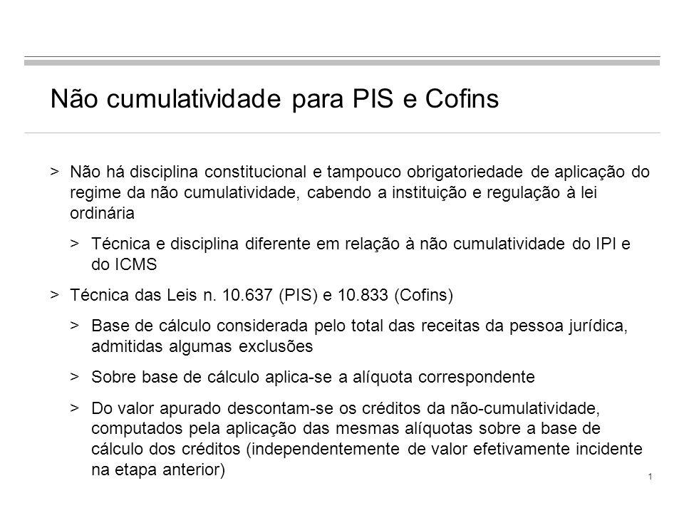 Não cumulatividade para PIS e Cofins