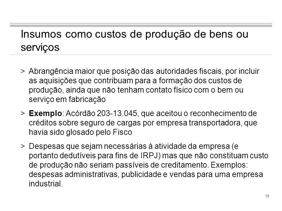 Insumos como custos de produção de bens ou serviços