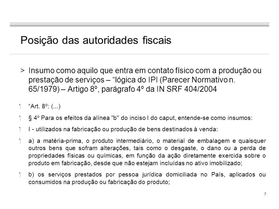 Posição das autoridades fiscais