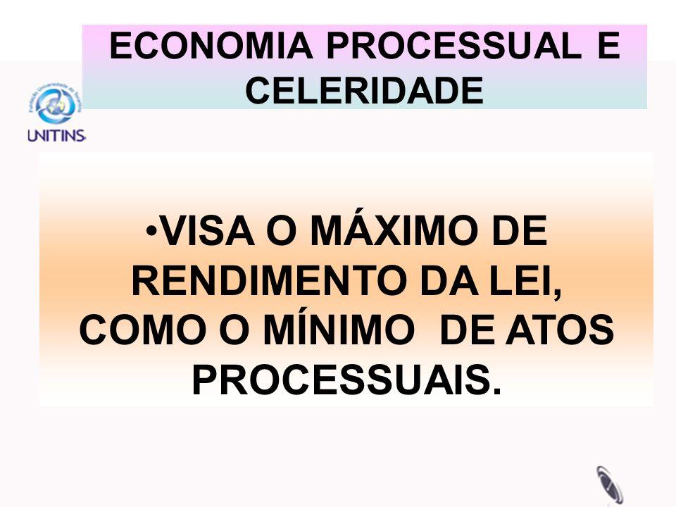 ECONOMIA PROCESSUAL E CELERIDADE