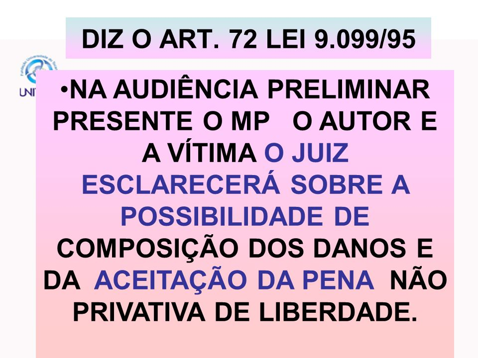 DIZ O ART. 72 LEI 9.099/95