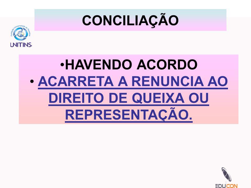 ACARRETA A RENUNCIA AO DIREITO DE QUEIXA OU REPRESENTAÇÃO.