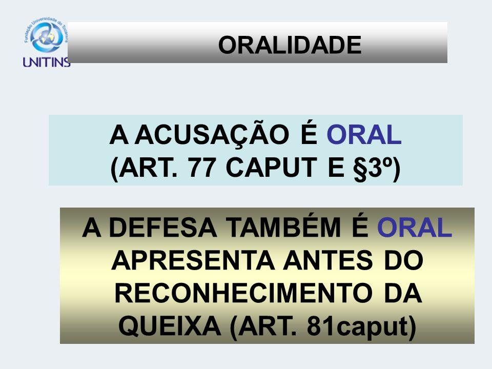 APRESENTA ANTES DO RECONHECIMENTO DA QUEIXA (ART. 81caput)
