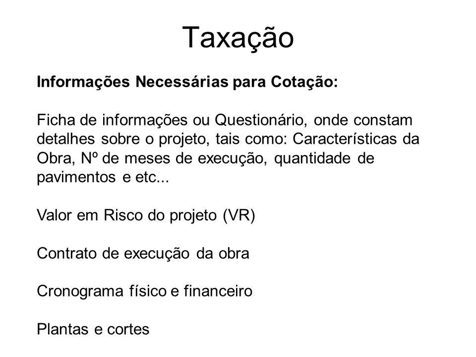 Taxação Informações Necessárias para Cotação: