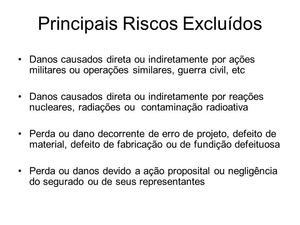 Principais Riscos Excluídos