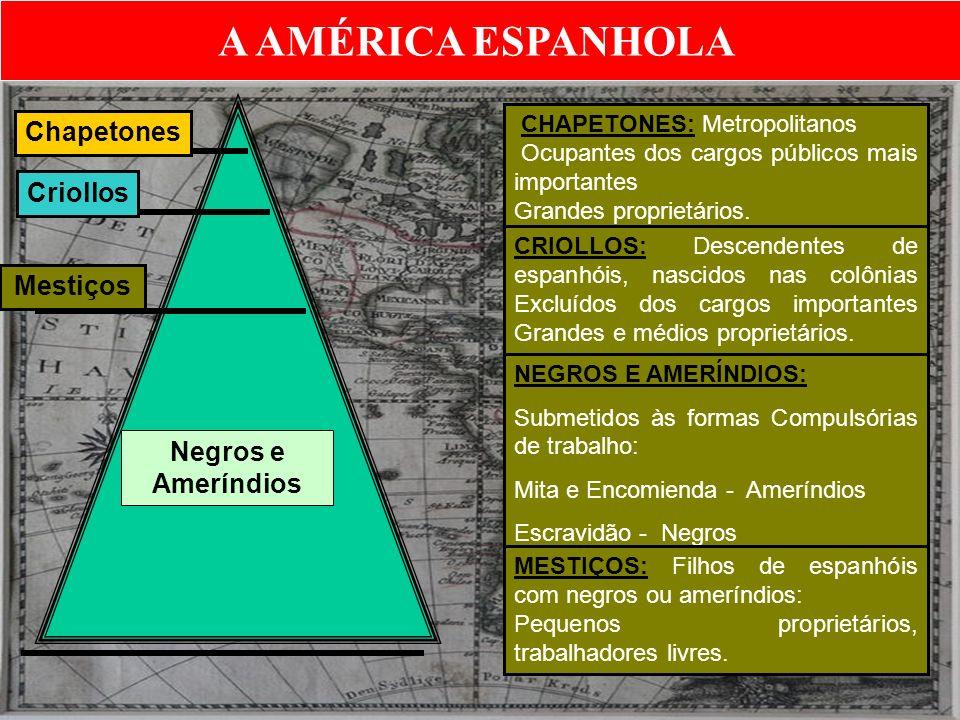 A AMÉRICA ESPANHOLA Chapetones Criollos Mestiços Negros e Ameríndios