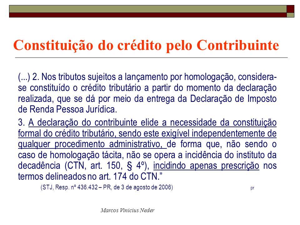 Constituição do crédito pelo Contribuinte