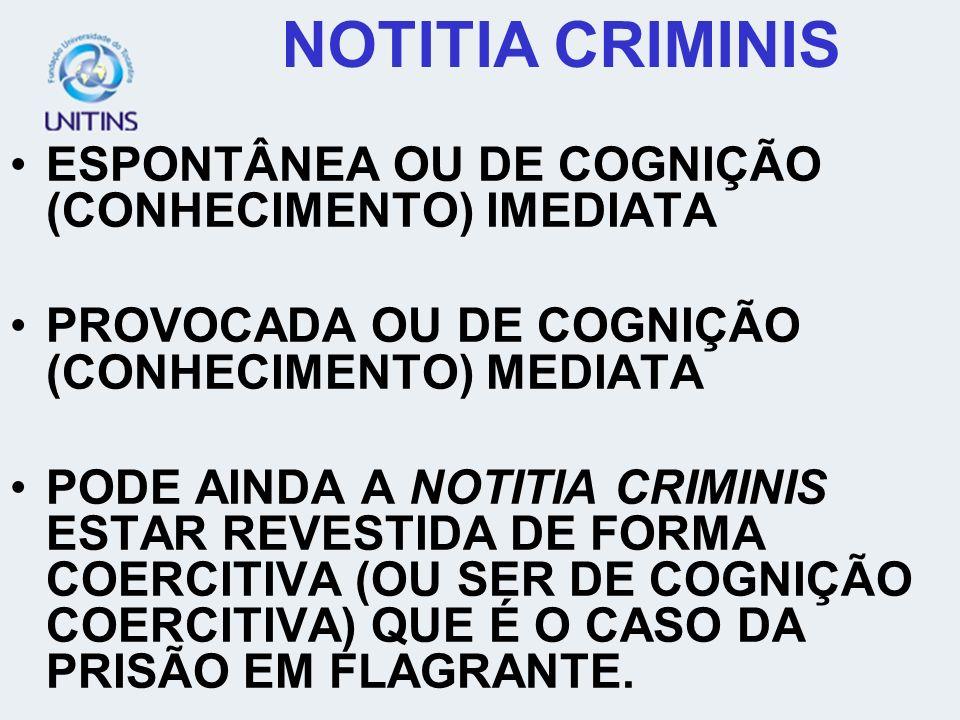 NOTITIA CRIMINIS ESPONTÂNEA OU DE COGNIÇÃO (CONHECIMENTO) IMEDIATA