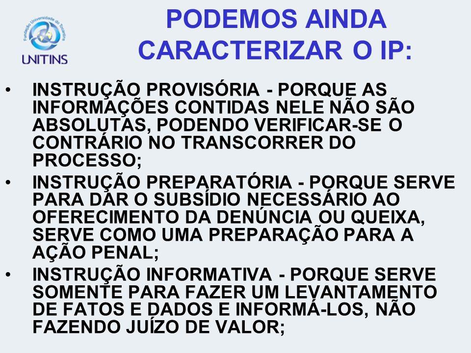 PODEMOS AINDA CARACTERIZAR O IP: