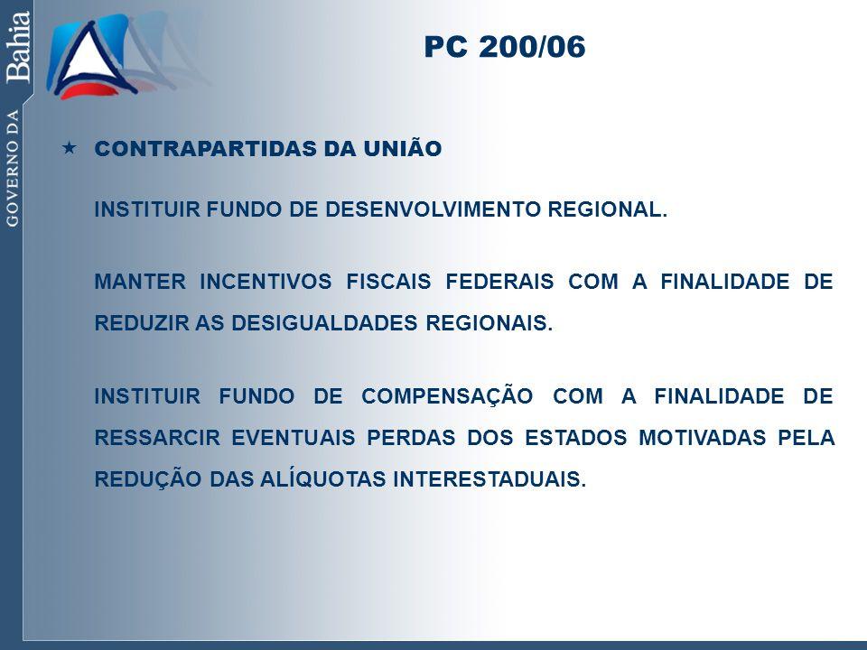 PC 200/06 CONTRAPARTIDAS DA UNIÃO