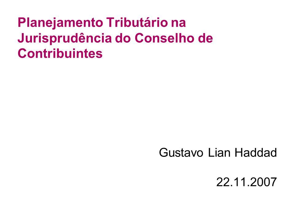 Planejamento Tributário na Jurisprudência do Conselho de Contribuintes