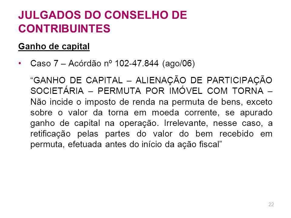 JULGADOS DO CONSELHO DE CONTRIBUINTES