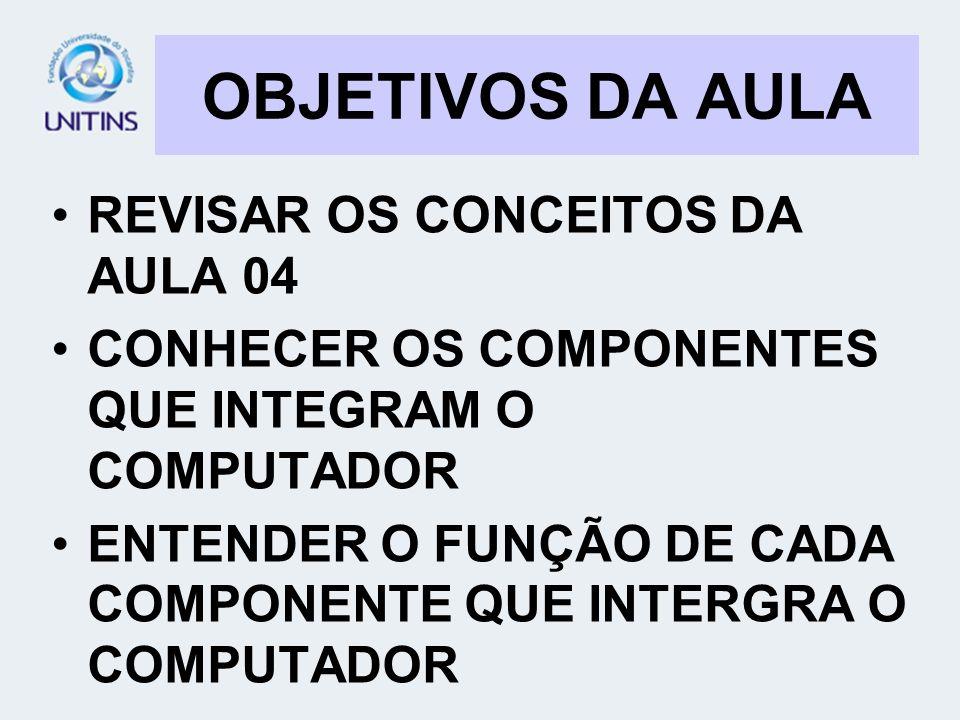 OBJETIVOS DA AULA REVISAR OS CONCEITOS DA AULA 04