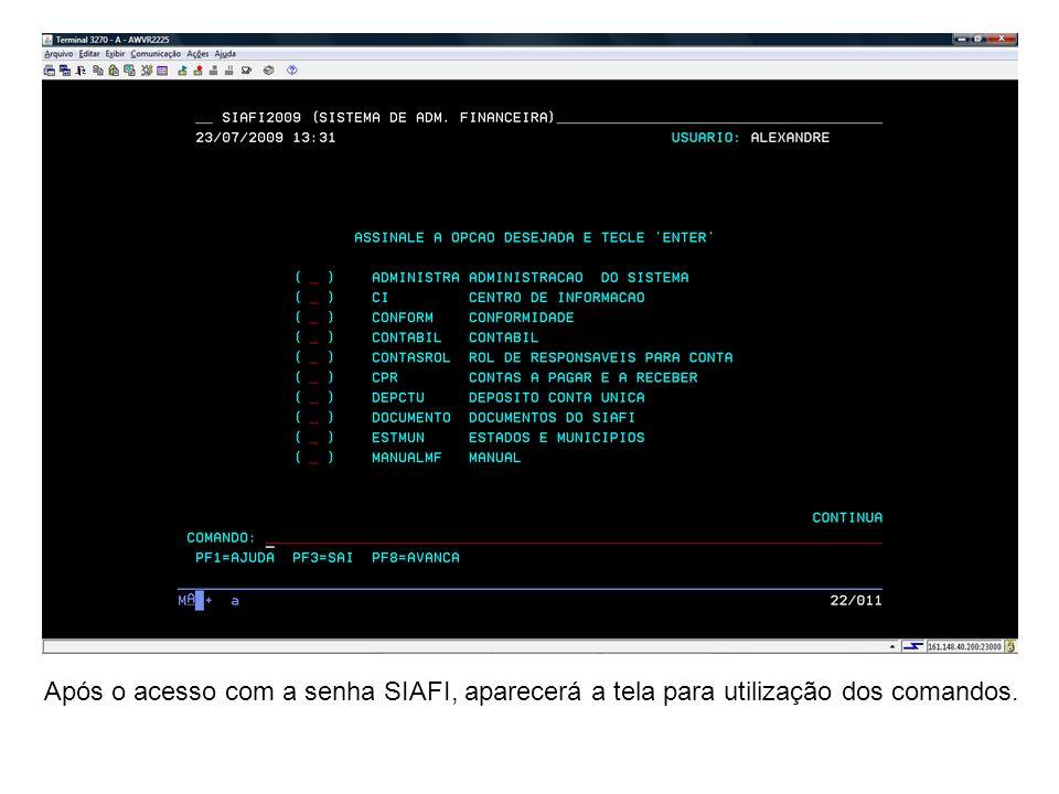 Após o acesso com a senha SIAFI, aparecerá a tela para utilização dos comandos.