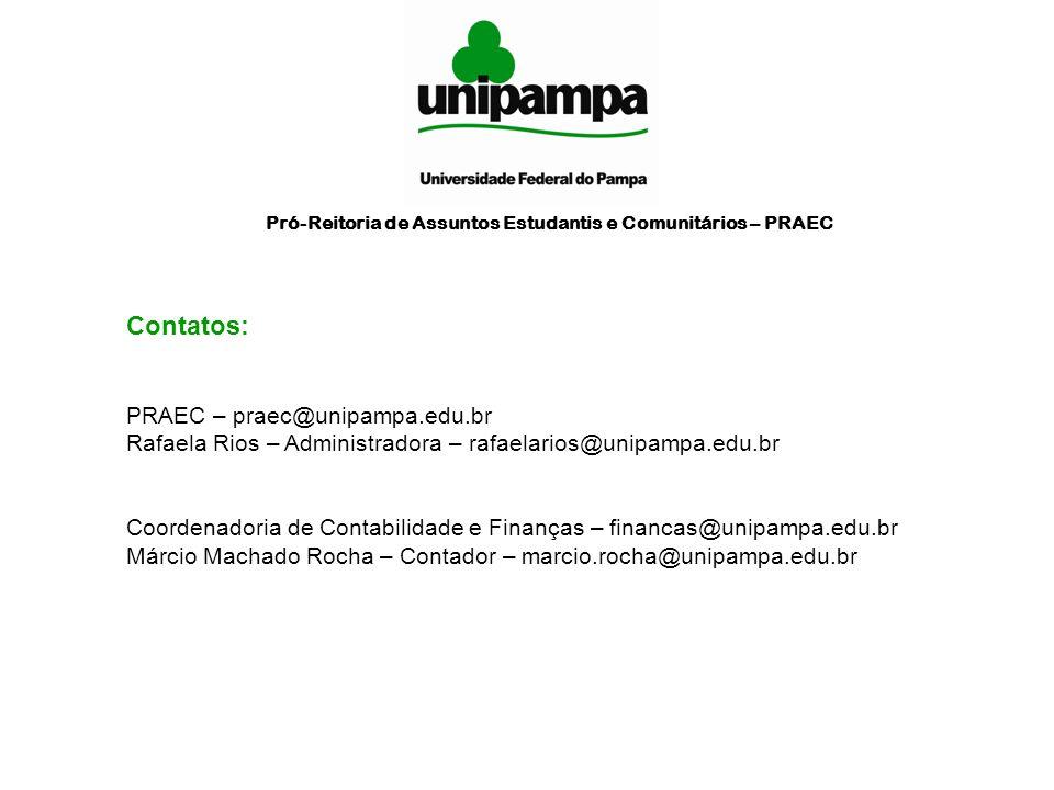 Contatos: PRAEC – praec@unipampa.edu.br