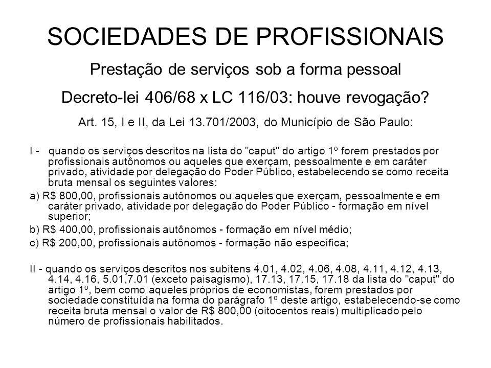 SOCIEDADES DE PROFISSIONAIS